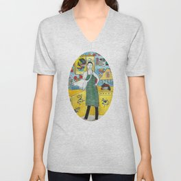 Man with cat in the kitchen Unisex V-Neck