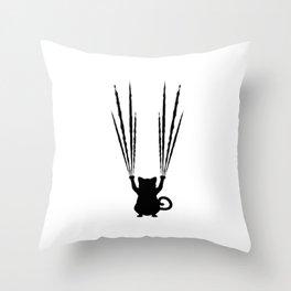 Black Cat scratch Throw Pillow