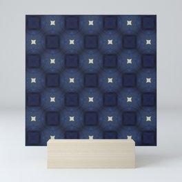 Blue and White Square Pattern Mini Art Print