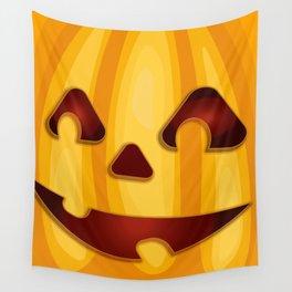 Carved pumpkin Halloween design Wall Tapestry