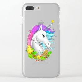 Xmas Unicorn Clear iPhone Case