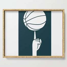 Basketball spinning on a finger Serving Tray