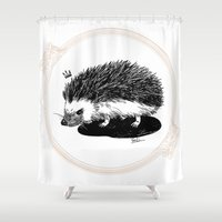 hedgehog Shower Curtains featuring hedgehog by SALI