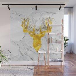 Glittering Golden Deer on White Marble Wall Mural
