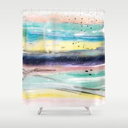 Summer watercolor abstract art design Shower Curtain