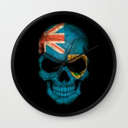 Dark Skull with Flag of Turks and Caicos Wall Clock