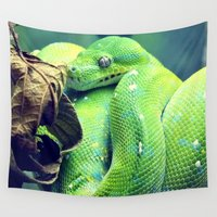 snake Wall Tapestries featuring Snake by Yoshigirl