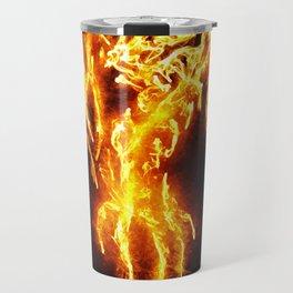 Dragon skeleton in flames Travel Mug