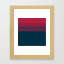 Red navy blue geometrical ombre stripes Framed Art Print