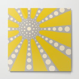 Abstract sunburst in mustard yellow, off-white, grey Metal Print