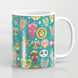 funny animals lion, kangaroo, horse, bear, mouse, raccoon, deer Coffee Mug