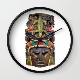 Colorful Mayan mask Wall Clock