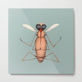 meditating mosquito blue Metal Print