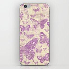 purple, vintage, butterflies, parchment iPhone Skin