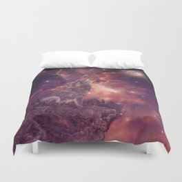 wolf and sky Duvet Cover