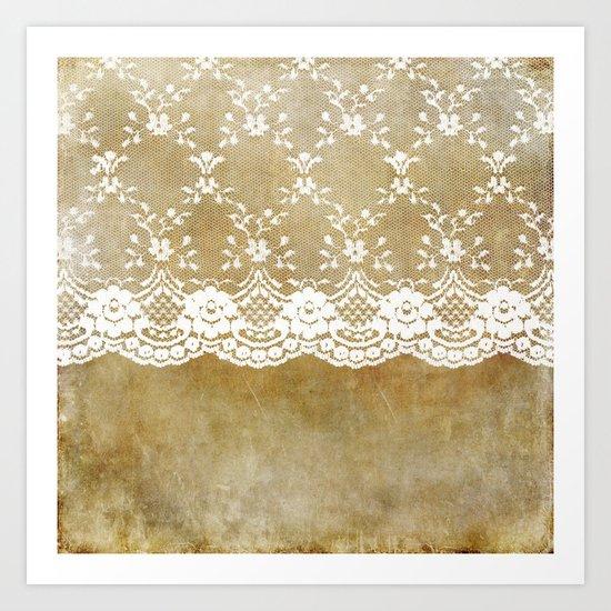 The elegant lady- White luxury foral lace on grunge backround Art Print