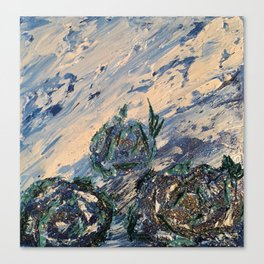 Blue flowers of the mist Canvas Print