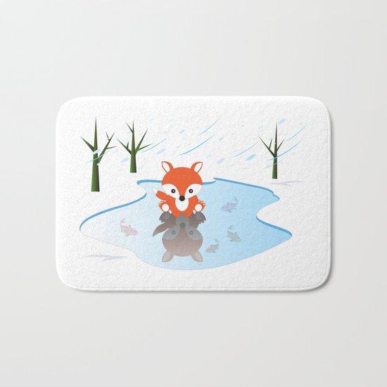 Little Fox On Ice Bath Mat