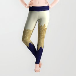 Navy blue ivory faux gold glitter brushstrokes Leggings