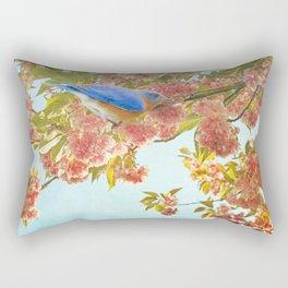 Indigo Bluebird on Pink Flowering Tree Branch Rectangular Pillow