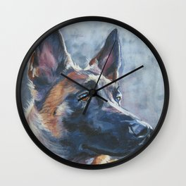 beautiful Belgian Malinois dog art portrait Beautiful Fine Art Dog Painting by L.A.Shepard Wall Clock