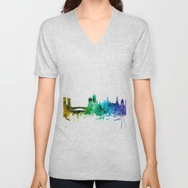 Leeds England Skyline Unisex V-Neck