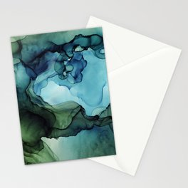 Land and Water Abstract Ink Painting Blues and Greens Stationery Cards