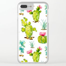 Green Cactus Watercolor Clear iPhone Case
