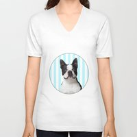 boston terrier V-neck T-shirts featuring Boston Terrier by jampot gallery