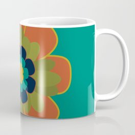 Morelia Flower 2 - Retro Floral in Orange, Olive, Mustard, Turquoise, and Teal Coffee Mug