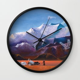 Nomadic Life - Mongolian Steppes Wall Clock