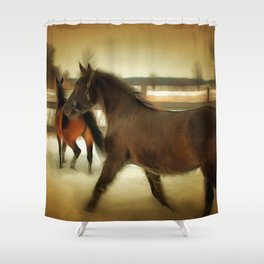 Horses Along a Fence in Snow in Winter. Golden Age Painting Style. Shower Curtain