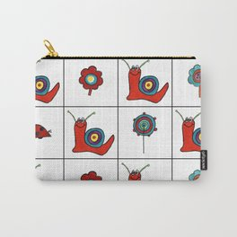 Abstract Snail and Flowers Grid Design Carry-All Pouch
