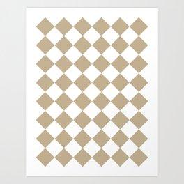 Large Diamonds - White and Khaki Brown Art Print