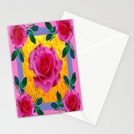 5 Lipstick Pink Full Roses Gold Mosaic Pattern Art Stationery Cards