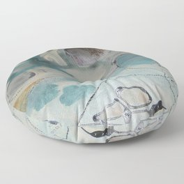 still waters - mixed media ocean collage in modern fresh colors mint, teal, cream, white, and gold Floor Pillow