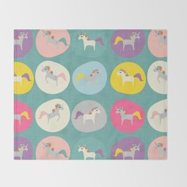 Cute Unicorn polka dots teal pastel colors and linen texture #homedecor #apparel #stationary #kids Throw Blanket