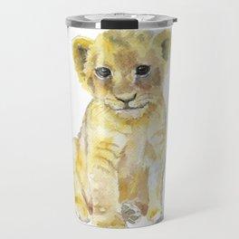 Lion Cub Watercolor Travel Mug
