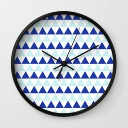 Triangles Pattern in Blue Wall Clock