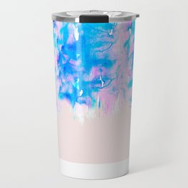 Girly Pastel Pink and Blue Watercolor Paint Drips Travel Mug