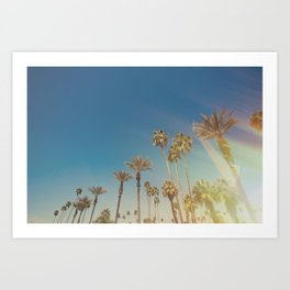 Palm Springs,California Palm Trees Sunburst Art Print
