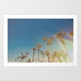 Palm Springs,California Palm Trees Sunburst Art Print