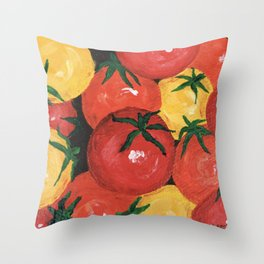 Cherry Tomatoes Painting Throw Pillow