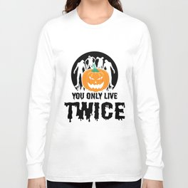 Jackolantern Scary Ghost Zombie Pumpkin Halloween Light Long Sleeve T-shirt