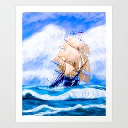 Frigate USS Constitution At Sea Art Print