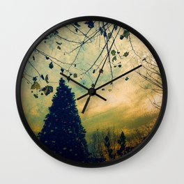 Christmas Tree at Dusk Wall Clock