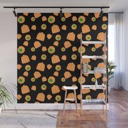 Candy Pumpkins - Black Wall Mural