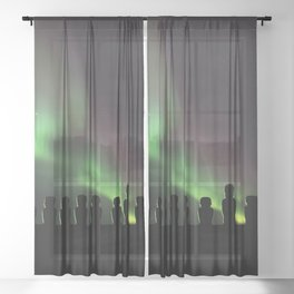 Northern Lights Easter Island Moai Sheer Curtain