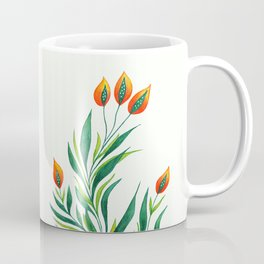 Abstract Green Plant With Orange Buds Coffee Mug