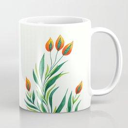 Abstract Green Plant With Orange Buds Coffee Mug